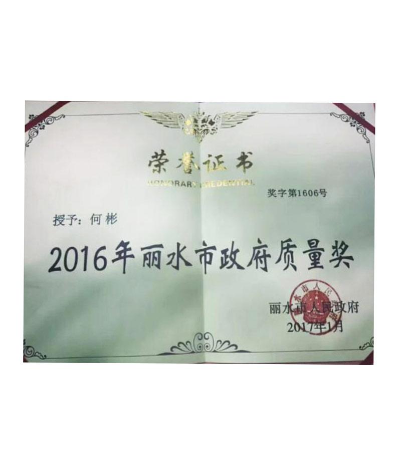 2016年丽水市政府质量奖
